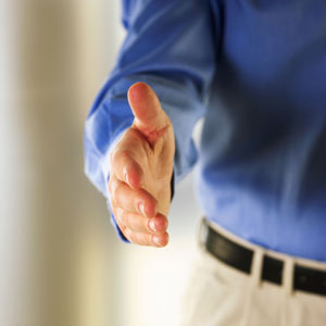 Man extending hand in greeting
